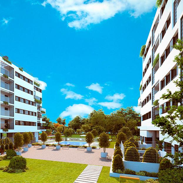 69 viviendas VPPB, garaje, trasteros y piscina. Residencial BREMEN