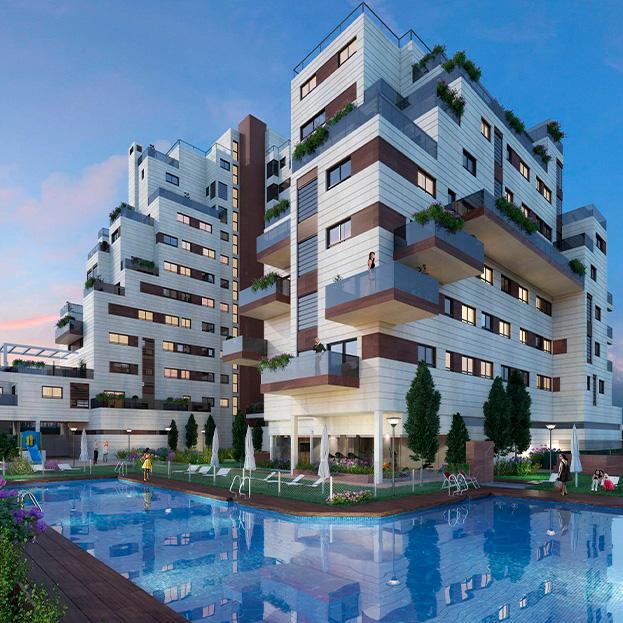 Proyecto básico de 80 viviendas, garaje, piscina y locales comerciales
