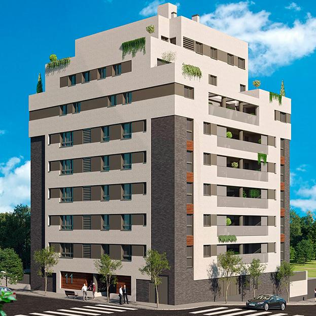 35 viviendas en bloque, garaje, trasteros y piscina Residencial BOLONIA